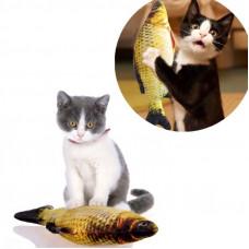 Іграшка для котика з мятою карась для кота м'яка рибка карасик для кішки 40 см.