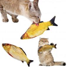 Іграшка для кота м'яка іграшка з м'ятою риба карась для котика 19 см.