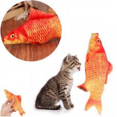 Іграшка для котика з мятою червоний карп для кота м'яка рибка карп для кішки 40 см.