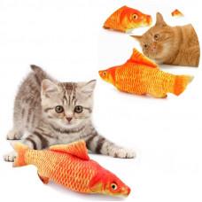 Іграшка для котика з мятою червоний карп для кота м'яка рибка карп для кішки 19 см.