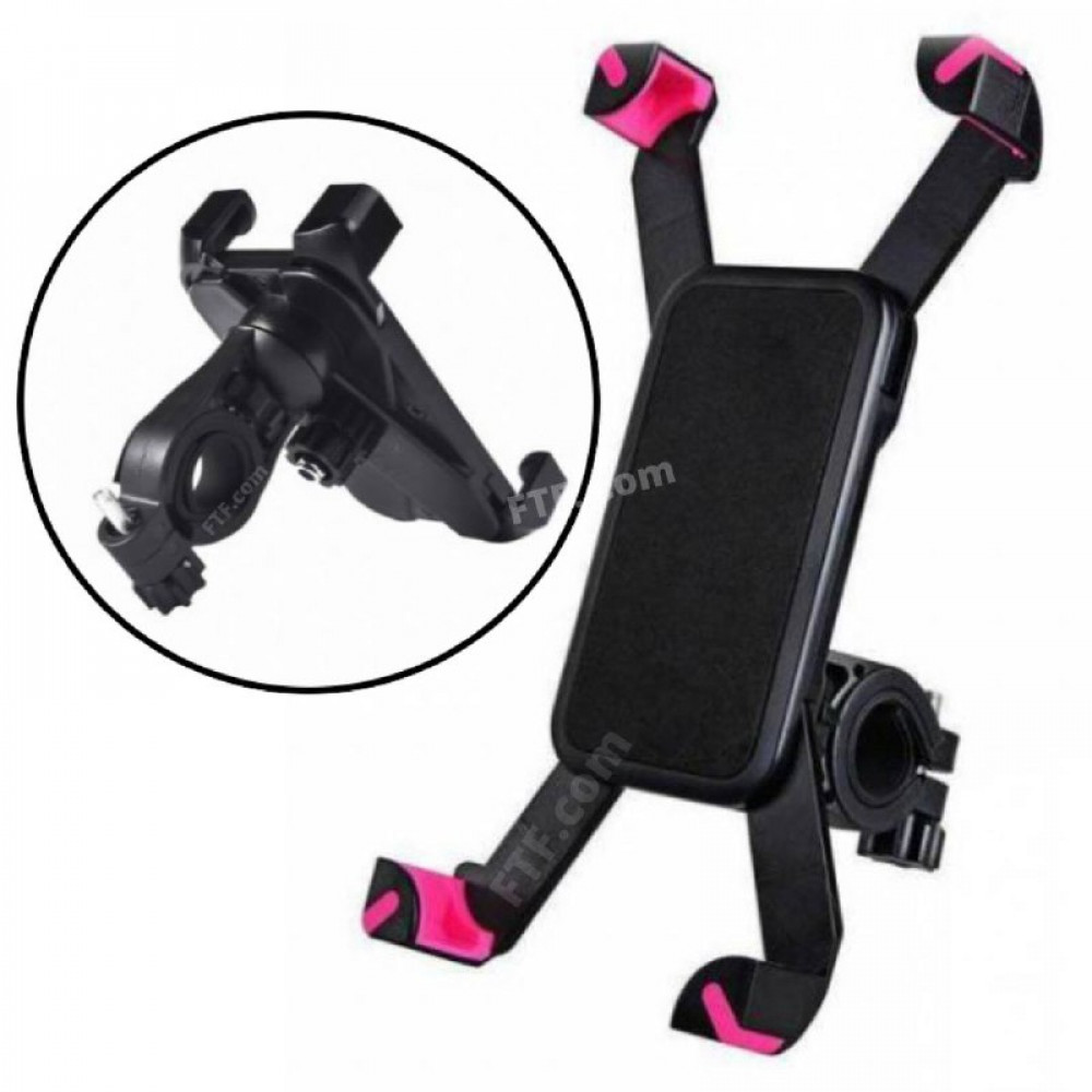 Універсальний тримач, кріплення для телефону на кермо велосипеда, самоката, рожеві вставки
