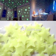 Звездное небо, светящиеся наклейки на потолок и стену 100шт, салатовые