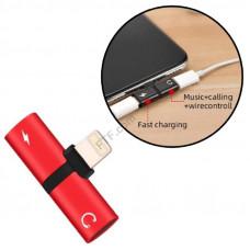Lightning спліттер 1x2 навушники + зарядка розгалужувач на 2 порти для Apple Iphone 7,8,10, X, SE