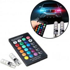 Лампочки в автомобіль з пультом ДУ, лампа 2x LED T10 W5W 6 SMD 5050, 16 кольорів пара