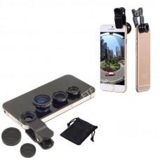 Набір лінз для телефону, 3в1 фішай, ширококутна, макролінза для Iphone