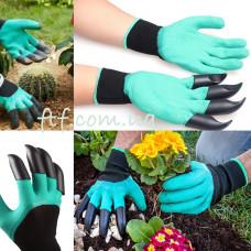 Рукавички захисні для садівництва та городу з кігтями, гумові, садові