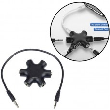 Хаб на 6 роз'ємів під 3.5мм джек аудіо спліттер навушників