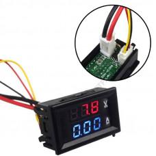 Цифровий вольтметр амперметр до 100В, 10А, LED
