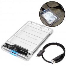 Карман жорсткого диску, зовнішній 2.5 USB 3.0 SATA, прозорий