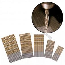 Свердла спіральні по металу, набір з 50 спіральних свердел 1-3мм, HSS-сталь