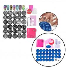 Стемпінг, штамп для манікюру, набір для стемпінга з чохлом розширений, нейл-арту, пластини для стемпінга в чохлі